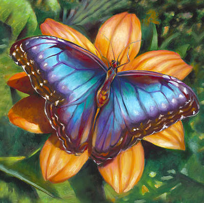 Painting - Blue Morpho Butterfly by Nancy Tilles