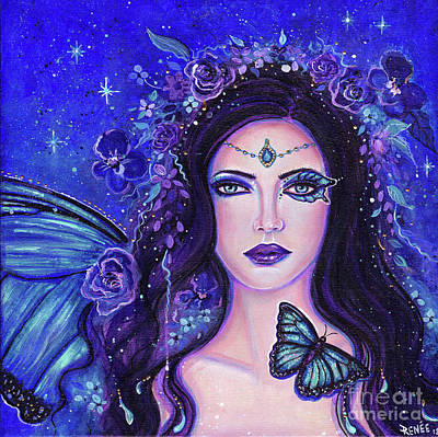 Painting - Blue Morpho Fairy Queen by Renee Lavoie