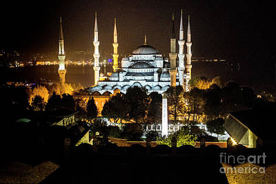 Photograph - Blue Mosque At Night by Kathy McClure