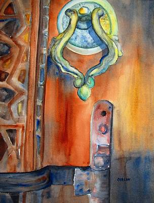 Painting - Blue Mosque Door by Carlin Blahnik CarlinArtWatercolor