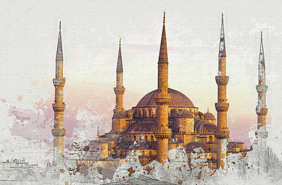 Digital Art - Blue Mosque In Istanbul  by Don Kuing