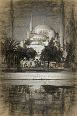 Byzantine Photograph - Blue Mosque - Sketch by Stephen Stookey