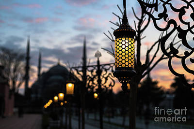 City Photograph - Blue Mosque Sultan Ahmed Silhouette With Lanterns At Sunset by Tatyana Aksenova