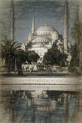 Blue Mosque - Vintage Blue Sketch Art Print by Stephen Stookey