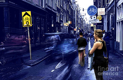 Amsterdam Digital Art - Blue Motion In Amsterdam Tote Bag by John Rizzuto
