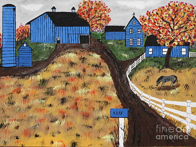 Horse In Autumn Painting - Blue Mountain Farm by Jeffrey Koss