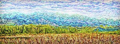 Trippy Digital Art - Blue Mountain Golden Field by Joel Bruce Wallach