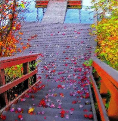 Autumn Leaf On Water Digital Art - Blue Mountain Lake 11 - Dock Abstract by Steve Ohlsen