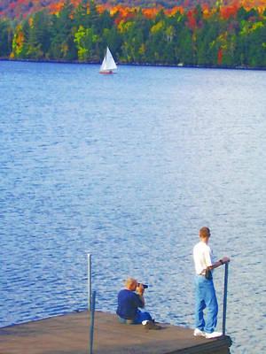 Autumn Leaf On Water Digital Art - Blue Mountain Lake 13 - Tourists On Dock by Steve Ohlsen