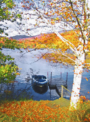 Row Boat Digital Art - Blue Mountain Lake 3 by Steve Ohlsen