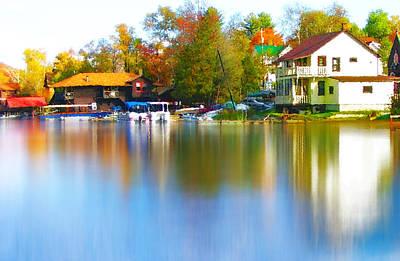 Autumn Leaf On Water Digital Art - Blue Mountain Lake 7 by Steve Ohlsen