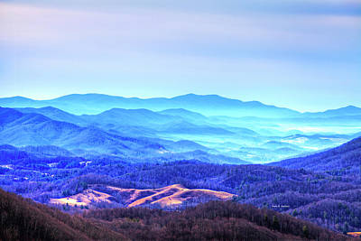 Blue Mountain Mist Art Print by Dale R Carlson