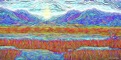 Digital Art - Blue Mountain Sunrise - Boulder Colorado Lake by Joel Bruce Wallach