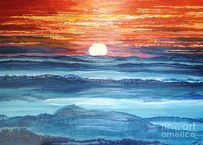 Brilliant Sun Painting - Blue Mountain Sunset by Corry Leblanc