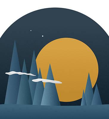Art Print featuring the mixed media Blue Mountain Sunset by Frank Tschakert