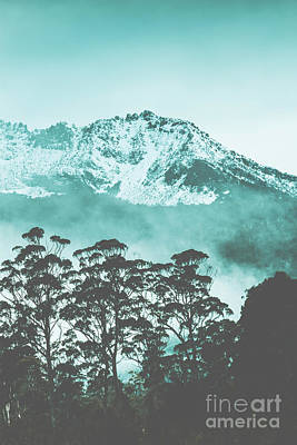 Blue Mountain Winter Landscape Art Print
