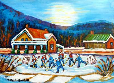Painting - Blue Mountains At St Hippolyte Pond Hockey Painting Rural Quebec Landscape Cabin Scene C Spandau     by Carole Spandau