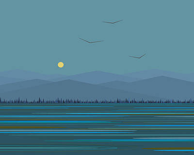 Digital Art - Blue Mountains - With Birds by Val Arie