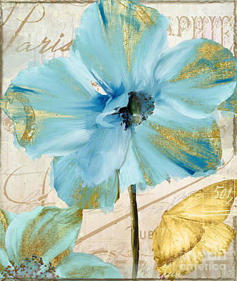 Blue And Gold Painting - Blue Mountan Poppy With Gold by Mindy Sommers
