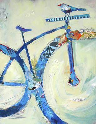 Bicycle Painting - Blue Mt Bike And Bird by Shelli Walters