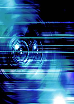 Digital Art - Blue Music Speakers by Steve Ball