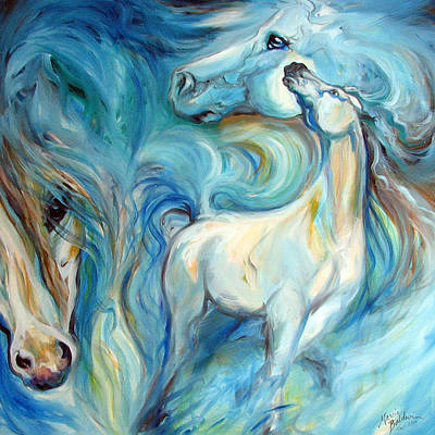 Abstract Equine Art Painting - Blue Mystic Sky Equine Abstract by Marcia Baldwin