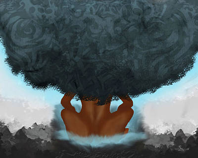Afro Mixed Media - Blue N-r-g by Sharonda Scott