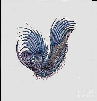 Watercolor With Pen Drawing - Blue by Nancy Even