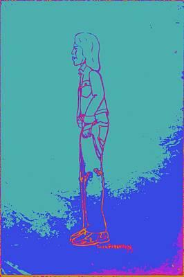 Denim Drawing - Blue Native American Indian Boy With Bandaged Arm by Sheri Buchheit