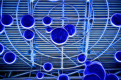Photograph - Blue Neon Ball Geometric Ceiling by John Williams