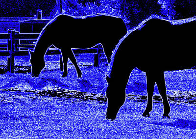 Digital Art - Blue Neon Ponies by Katy Hawk