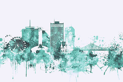 City Skyline Painting - Blue New Orleans Watercolor Skyline by Dim Dom