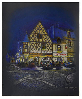 Bistro Drawing - Blue Night In France 2 by Jack Sanders