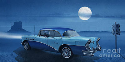 Route 66 Mixed Media - Blue Night On Route 66 by Monika Juengling