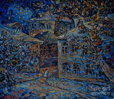 Fruit Tree Art Painting - Blue Night White Dog by Andrey Soldatenko