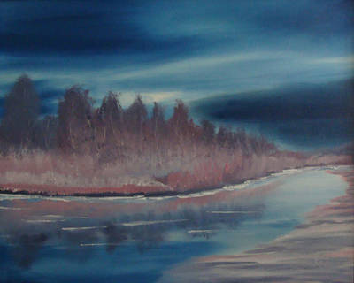 Blue Nightfall Evening Art Print by Rod Jellison