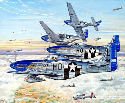 B-17 Wall Art - Painting - Blue Nosed Bastards Of Bodney by Charles Taylor