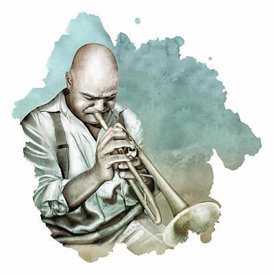 Digital Art - Blue Note-  Jazz by Claude Peyrouse