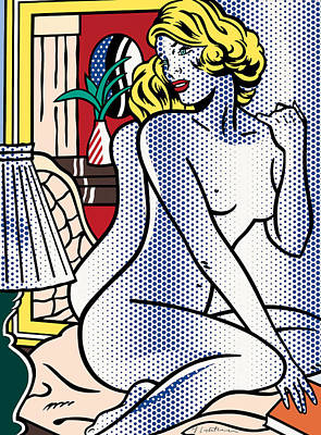 Photograph - Blue Nude - Pop Art  by Doc Braham - In Tribute to Roy Lichtenstein