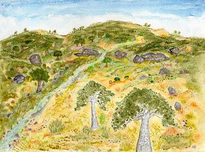 Painting - Blue Oaks And Granite Rocks by Jim Taylor