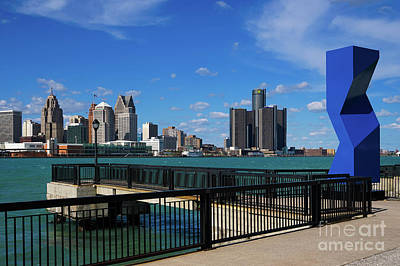 Photograph - Blue Obelisk And Detroit by Rachel Cohen