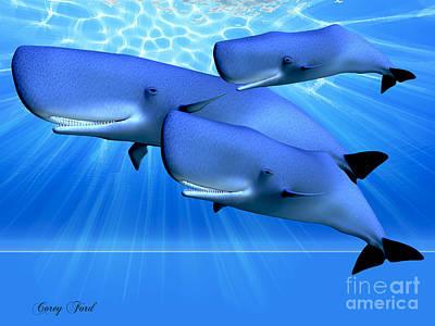 Cetacean Digital Art - Blue Ocean by Corey Ford