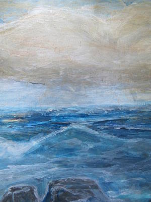 Painting - Blue Ocean With Rocks by Denice Palanuk Wilson