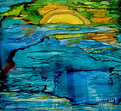 Photograph - Blue Ocean, Yellow Sun by Stephanie  Skeem
