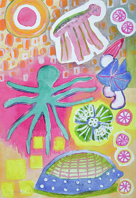 Blue And Pink Dance Painting - Blue Octopus And White Knight  by Heidi Capitaine