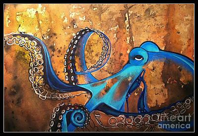 Blue Octopus Art Print by Elizabeth Dixon