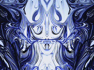 Photograph - Blue Oil Gestalt Abstract I by John Williams