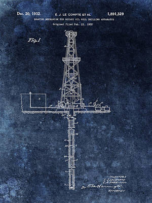 Drawing - Blue Oil Rig Patent Design by Dan Sproul