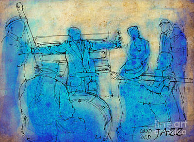 Jazz Band Drawing - Good Old Jazz, Louis Armstrong by Pablo Franchi