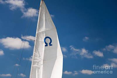 Sail Cloth Photograph - Blue Omega Sign Mast Detail by Arletta Cwalina